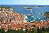 stock photo of arsenal  - Panorama of the Old Town of Hvar - JPG