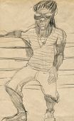 image of rastaman  - A hand drawn illustration of an rastaman  - JPG
