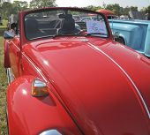 1971 Red Vw Super Beetle Hood View