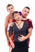 stock photo of transvestites  - Portrait of funny transvestites cross - JPG