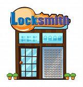 pic of locksmith  - Illustration of a locksmith shop on a white background - JPG
