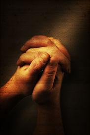 image of hand god  - Prayers hands and sunbeam on old nostalgic background - JPG