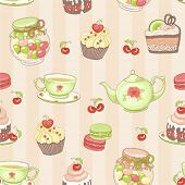 Seamless background of sweets and tea, vector illustration in vintage style.