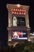 Caesars Palace Hotel Sign At Night In Las Vegas, Nv On August 29, 2013