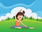Illustration of a young girl doing yoga at the hilltop