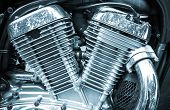 Shiny Chromium-plated Motorcycle Engine Closeup Monochrome Photo
