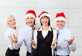picture of office party  - businesspeople group smile working office - JPG