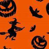 stock photo of drakula  - Seamless orange and black pattern with Halloween elements - JPG