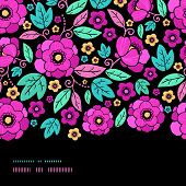 Night Kimono Blossom Horizontal Border Seamless Pattern Background