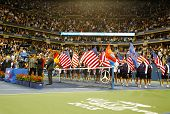 Trophy presentation at Billie Jean King National Tennis Center after US Open 2013 men final match