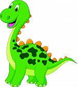 image of terrific  - Vector illustration of Cute green dinosaur cartoon - JPG