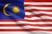 stock photo of malaysia  - Malaysia flag blowing in the wind - JPG