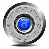 foto of combination lock  - Colorful illustration with combination lock for vaults or secured doors - JPG
