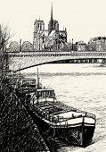 Vector illustration of Paris- Seine River with barges - Ile de la Cite and Notre-Dame (hand drawing)