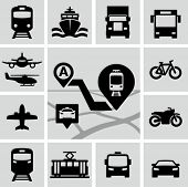 stock photo of passenger ship  - Transportation icons - JPG
