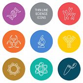 stock photo of sperm cell  - Vector modern circle thin line biology science icons - JPG