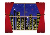 pic of urbanisation  - Image of a cityscape through a window at night during a fireworks display - JPG