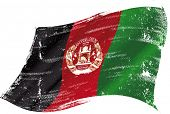 flag of Afghanistan in the wind with a texture