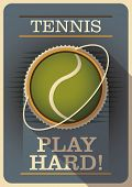 Tennis poster with retro design. Vector illustration.