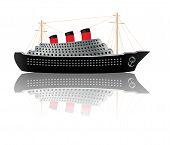 picture of bon voyage  - Retro cruise liner illustration on white background - JPG