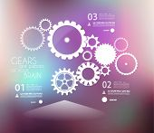 Infographic design template with gears. Idea to display information, ranking and statistics with ori