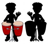 pic of congas  - Percussionist playing congas silhouettes isolated on a white background - JPG