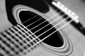 pic of guitarists  - Closeup detail of guitar strings for playing music - JPG