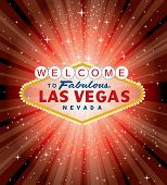 stock photo of roulette table  - vector Las Vegas sign over the red night star burst - JPG