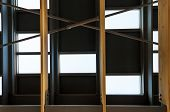 foto of rafters  - Detail of metal roof with wood rafter - JPG