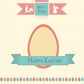 Vintage Happy Easter celebration flyer, poster or banner design with easter egg and green ribbon on