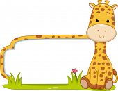 foto of beside  - Illustration of a Ready to Print Label Featuring a Cute Giraffe Sitting Beside a Patch of Grass - JPG