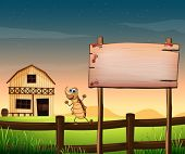image of barn house  - Illustration of an empty wooden signboard near the fence at the farm - JPG