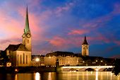 stock photo of zurich  - The night view of the Fraumunster in Zurich - JPG