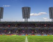 picture of grandstand  - the beginning of a football match - JPG