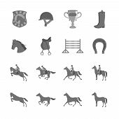 foto of saddle-horse  - Horse with riders flat icons set of cup barrier saddle and horseshoe isolated vector illustration - JPG