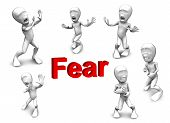 stock photo of unawares  - 3d little person who very frightened trembling in fear - JPG