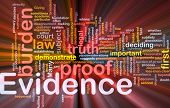 stock photo of significant  - Background concept wordcloud illustration of evidence legal proof glowing light - JPG