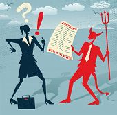 picture of lucifer  - Abstract Businesswoman signs a Deal with the Devil - JPG