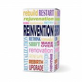 foto of rebuilt  - reinvention word on product box with related phrases - JPG