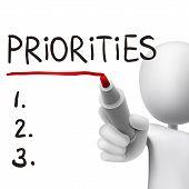 pic of priorities  - priorities word written by 3d man over white - JPG