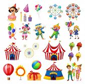 foto of carnival ride  - Illustration of the happiness at the carnival on a white background - JPG