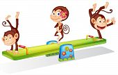 stock photo of seesaw  - Illustration of the three playful monkeys playing with the seesaw on a white background - JPG