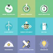 image of waste reduction  - Flat icons set of natural renewable and clean energy green technology innovation and chemistry bio fuel and waste reduction efficiency - JPG