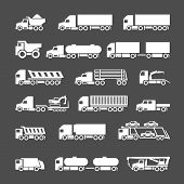 image of tractor trailer  - Set icons of trucks trailers and vehicles isolated on grey - JPG