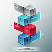 image of parallelepiped  - Modern infographics options banner with realistic colorful cubes and ribbons for 4 options - JPG