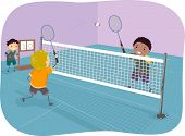 stock photo of badminton player  - Illustration Featuring Boys Playing Badminton - JPG