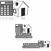 foto of amortization  - Icon set showing a house and a calculator alongside the words  - JPG