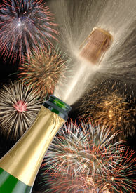 picture of happy new year 2013  - champagne with fireworks at holiday like happy new year or birthday - JPG