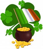 picture of pot gold  - Saint Patrick Day design with Irish flag and pot full of gold coins - JPG