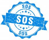 picture of sos  - sos blue grunge seal isolated on white - JPG